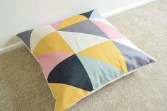 Welcome to SimplySkandi :)  Pattern: Retro/Scandinavian/Geometric Design in Yellow/Pink/Black/Teal  Item: Decorative Cushion Cover (insert not