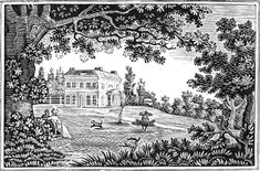 A lovely drawing of a couple sitting on a bench in their garden. This pretty black and white drawing of a country home