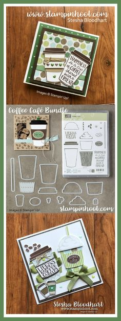 Coffee Cafe Bundle from Stampin' Up!  Photopolymer Stamps and Coordinating Dies Available to Purchase from Stampin' Hoot! Stesha Bloodhart