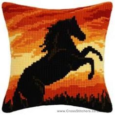 Horse Sunset Cushion Front Cross Stitch Kit by Vervaco