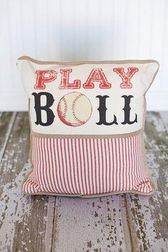 Play Ball Baseball Decorative Pillow Cover by MonMellDesigns,