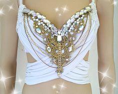 White and Gold and Glam Design Custom Bra Costume Lingerie Rave Bra