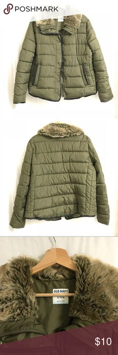 Army Green Puffer Coat Old Navy puffy coat in army green with furry collar trim.  Got it as a gift and it's not my style. Worn twice in front of gifter to be polite. Sits in the hall closet taking up space.  Please someone get this out of my way. Old Navy Jackets & Coats Puffers