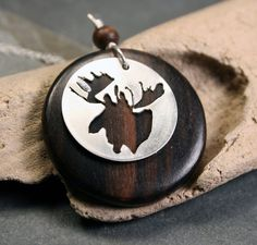 Moose Necklace  Handsawn Woodland Style Necklace  by ValerieTyler #christmas necklace #woodland #jewelry