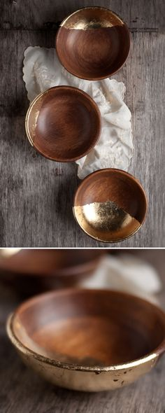 Wooden Bowls with Gold Leaf from: this heart of mine • I have a set of one large salad bowl and two smaller bowls -- the possibility intrigues me.
