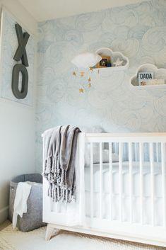 Modern Cloud Nursery Modern Cloud Nursery with Gorgeous Cloud Wallpaper Baby Bedroom, Nursery Room, Nursery Decor, Room Decor, Nursery Design, Nursery Ideas, Cloud Wallpaper, Nursery Wallpaper, Cloud Shelves
