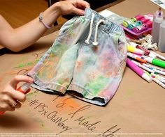 Lady  Prince shows us how to turn these pull-up chambray pants into a work of art with spray-on paints. This pin represents an entry to the #OldNavy x P.S.- I Made This... #Sweeps. You could win a DIY prize of your very own! http://oldnavysummerDIY.pen.io | Source: http://ladyandprince.com/tag/old-navy/ Source: http://OldNavySummerDIY.com