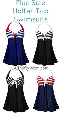 Plus Size Halter Top Swim Suits