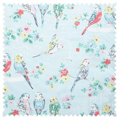 Big Budgies Cotton Duck fabric
