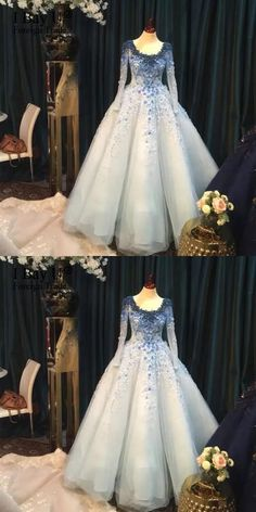 Sky Blue Ball Gown Evening Dress Luxury Beaded 3D Flowers Arabic Wedding Party Dresses New Long Evening Gown #skyblueballgown #3Dflowerpromdresses #lacepromdress #appliques #neweveninggown #partydresses #Luxuryballgowns #Prettylady #2018newdresses #amazingpromdress