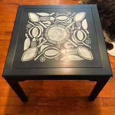 """another in the @royalstencils collection of amazing designs...this is """"circle of life""""  it fit this table so perfectly! So many possibilities with these stencils I'm really just getting started! stop in and let me show you :-) open until 5 tonight  #royalstencils #maisonblanchepaint #furnitureredo #reimagine #vintage #furnitureart #circleoflife #tribal #design #homedecor #VintageShop #devonpa #eastcotelane"""
