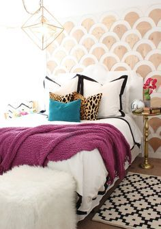 Jewel Tones Master Bedroom - Love all the color! Click for sources. Teal, purple and cheetah print!