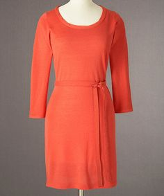 Take a look at this Orange Merino Twist-Neck Dress by Boden on #zulily today!