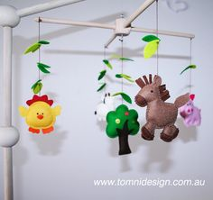 Ready to Ship Baby Nursery / Crib Farm Animals Mobile - all Handstitched, 100% wool felt on a Natural wood hanger