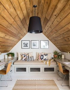 Interior Design Ideas Turning Attics into Modern Interiors is part of Small home Ideen - Attic rooms are ideal spacesaving and utilizing space solutions for small homes Attic Rooms, Attic Spaces, Attic Playroom, Attic Bathroom, Work Spaces, Small Attic Room, Attic Closet, Bathroom Grey, Playroom Design