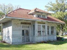 The old train depot in Funks Grove, Illinois.