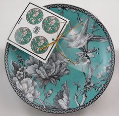 222 Fifth Adelaide Turquoise set of 4 porcelain round appetizer snack plates