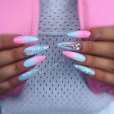 #summernails #summertime #pinknails #bluenails #stilletonails #ombrenails #ombre #swarovskinails #swarovski #pink #luxurynails