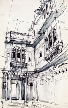 Trendy Ideas House Illustration Line Artists Ink Drawings, Cool Drawings, Drawing Sketches, Building Drawing, Building Sketch, Jaisalmer, Pen Sketch, Watercolor Sketch, Architecture Drawings