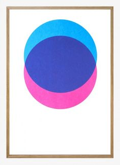 Lane - Circles, Pink & Blue. Silk screen print, 50x70 cm.