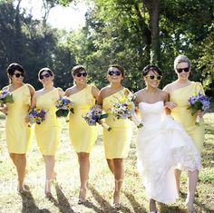 Love the yellow dresses with the purple flowers