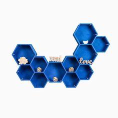 Hexagon Honeycomb Shelf #home #decor #plywood #inspiration #gift #housewarming #hexagonshelf #minimalist #shelf #geometricshelf