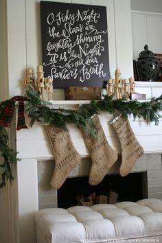 Mantel Idea. I like the idea of making burlap holiday stockings.