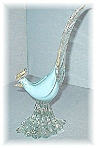 Palest Blue Gold White Italy Murano Glass Bird. Click on the image for more information.