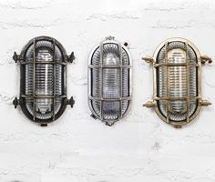 Brass bulkhead lights are a great alternative to standard wall lights. Ideal for industrial interiors everywhere.Available in 5 different de. Industrial Wall Lights, Industrial Windows, Industrial Flooring, Industrial Bedroom, Industrial Farmhouse, Industrial House, Industrial Interiors, Modern Industrial, Industrial Design