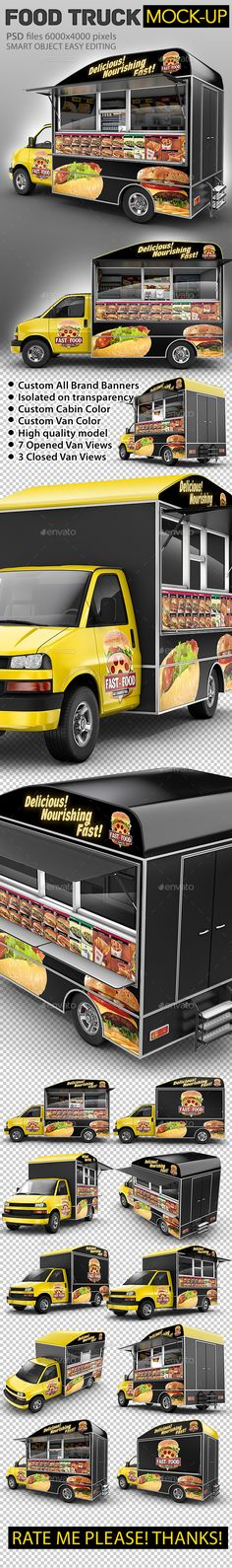 Food Truck Mock-Up. Van eatery mockup