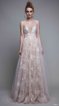 BERTA rtw fall 2017 (17 26) sleeveless deep vneck a line blush evening wedding…