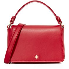 Tory Burch Micro Satchel (19,995 INR) ❤ liked on Polyvore featuring bags, handbags, leather handbags, tory burch purse, leather purses, red leather purse and red purse