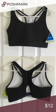 Black sports bra Black medium support action tech bra. Keyhole racer back design for ventilation .Fully lined for comfort and support. Champion Intimates & Sleepwear Bras