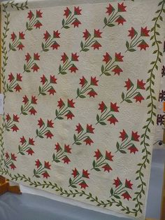 I love these red, white and green quilts!!
