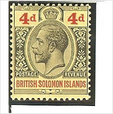 British Solomon Islands KGV 1927 4d Black & Red on Yellow Mounted Mint MM SG 45 on eBid United Kingdom