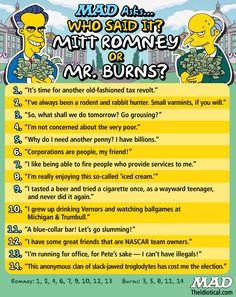 """From MAD's """"Mitt Happens Dept."""": Mitt Romney vs. Mr. Burns"""