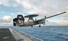 """The E-2A Hawkeye was designed with one primary mission in mind: patrolling the approaches to the fleet to detect impending attack by hostile aircraft, missiles or sea forces. The first Hawkeyes went to sea in 1966 aboard what #USNavy aircraft carrier? Get your answer here: http://go.usa.gov/3tgvJ (Pacific Ocean (Aug. 10, 2004) - An E-2C Hawkeye assigned to the """"Black Eagles"""" of Carrier Airborne Early Warning Squadron One One Three (VAW-113) launches from one of four steam-powered catapult..."""