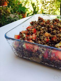 quinoás zold lencsesalata_allo_2 Fried Rice, Quinoa, Low Carb, Beef, Ethnic Recipes, Food, Cilantro, Meat, Essen