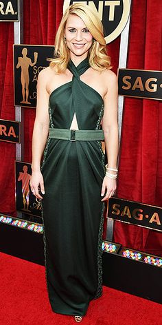 SAG Awards | CLAIRE DANES | A Marc Jacobs dress for ya, Tiss! I like this, don't love it, looks like it just has too much fabric or something. maybe it's the color? but the overall shape of the dress & the hair are working for Claire!