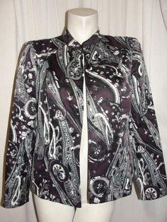 CHICO'S 8/10 Jacket Purple Grey White Paisley Open Front Long Sleeve Blazer 1 M #Chicos #BasicJacket #Business
