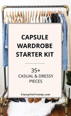 Capsule Wardrobe Starter Kit: Casual/Dressy Pieces - Classy Yet Trendy <br> The ULTIMATE visual guide (with shopping links) of basic essentials that you need for a functional wardrobe that will make DOZENS of outfits! Plus Size Capsule Wardrobe, Fall Capsule Wardrobe, Travel Wardrobe, Wardrobe Basics, Closet Basics, Staple Wardrobe Pieces, Capsule Outfits, Fashion Capsule, Minimal Wardrobe