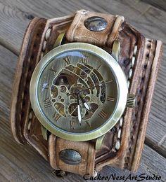 Steampunk Watch, Leather Watch Cuff, Men's watch, Leather Wrist Watch , Bracelet Watch, Mens Gift, Anniversary Gift, Distressed Brown