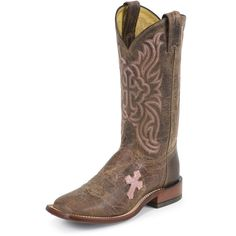 Tony Lama Ladies Saigets Worn Goat Square Toe Tan Cowgirl Boots