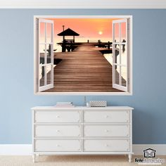 Wall mural Pier and sunset. Decorative vinyl that simulates a window open to a beautiful landscape a sunset on a maritime pier. Couches, Window Wall, Home Bedroom, Wall Stickers, My House, Windows, Sunset, Interior Design, Furniture
