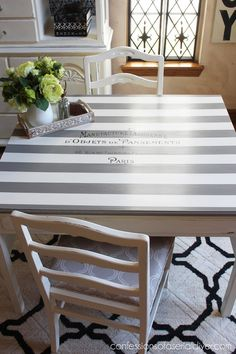 Vintage dining set makeover with stripes and Paris graphic - by Confessions of a Serial DIYer