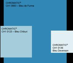 Un camaïeu de bleu autour du Bleu de Furma (CH1 0883) : classique et relaxant. www.chromaticstore.com