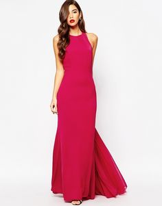 Jarlo Oriana High Neck Maxi Dress With Chiffon Back Train