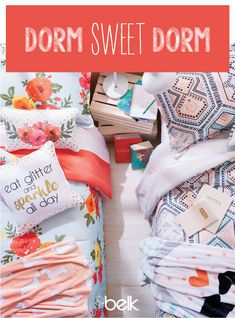 Make your dorm feel just like home with expressive bedding. From bright and preppy to modern and neutral, Belk has dorm bedding to suit every college student's style. Once you have the essentials, make sure to stock up on at least one pair of extra sheet College Bedding, Dorm Bedding, College Student Style, College Students, Dorm Shopping, New Bedroom Design, Cute Dorm Rooms, Dorm Life, Kids Corner