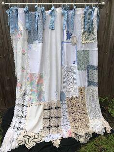 Bathroom Decor vintage Shower Curtain Shabby Nordic Chic Cottage Chic Bathroom Decor Vintage Crochet Bows Vintage Embroidery Home Decor