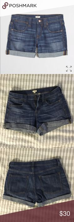 J. Crew denim boyfriend shorts The perfect denim boyfriend shorts by J. Crew. I'd keep them forever, but I no longer fit into them. Size 28 a true to size. Can be folded one more time or unfolded completely to show raw hem and a longer length. There is some stretch so the fit is very comfortable. Super cute - no signs of wear. Medium denim wash with very faint whiskering. J. Crew Shorts